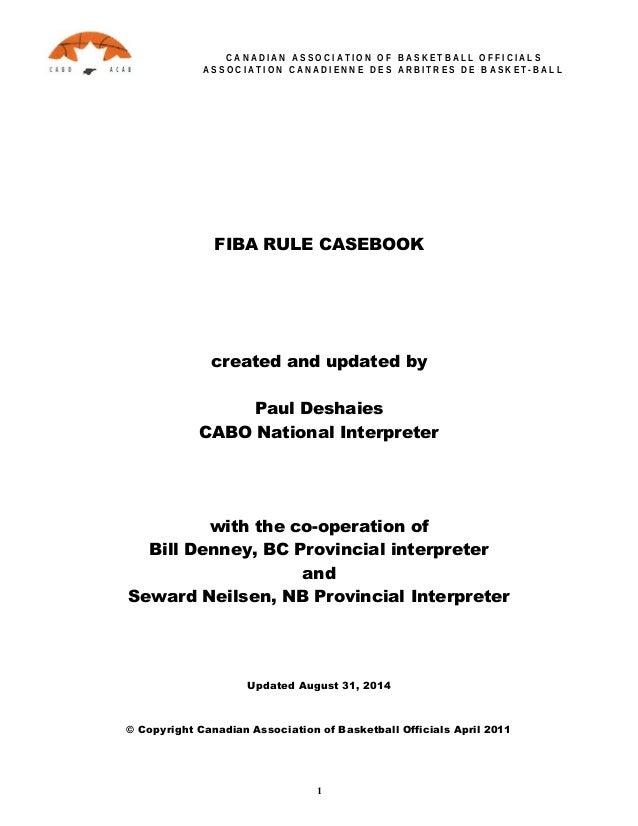 FIBA Official Basketball Rules: Casebook 2014