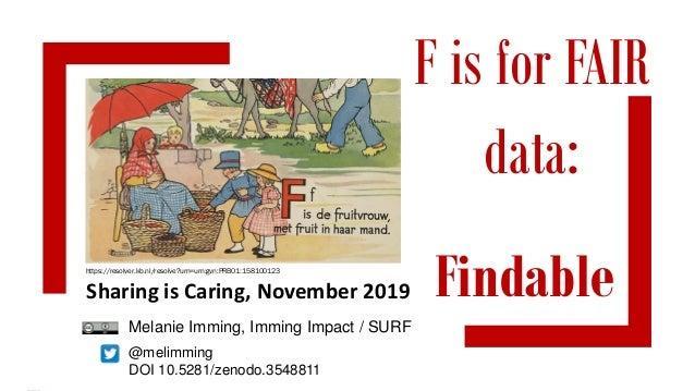 F is for FAIR data: @melimming DOI 10.5281/zenodo.3548811 Sharing is Caring, November 2019 Findable Melanie Imming, Imming...