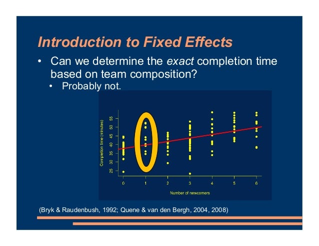 Introduction to Fixed Effects • Can we determine the exact completion time based on team composition? • Probably not. (Bry...