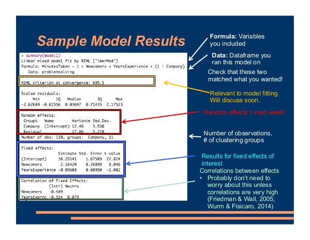 Sample Model Results Formula: Variables you included Data: Dataframe you ran this model on Check that these two matched wh...