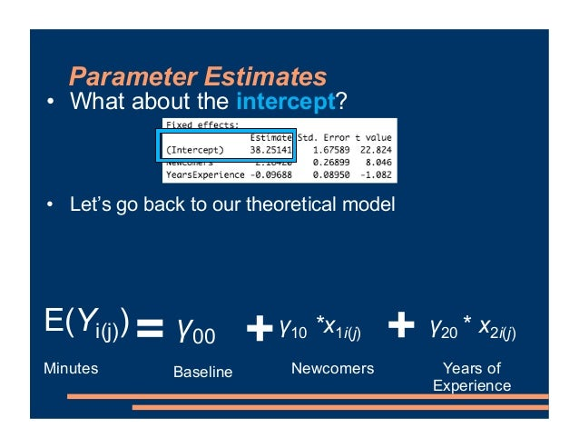 Parameter Estimates • What about the intercept? • Let's go back to our theoretical model = Minutes Newcomers + + Years of ...