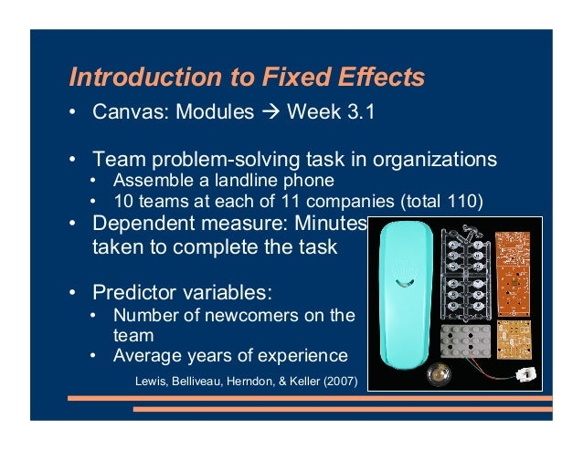 """Introduction to Fixed Effects • Canvas: Modules """" Week 3.1 • Team problem-solving task in organizations • Assemble a landl..."""
