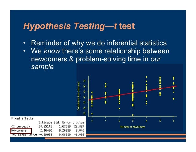 Hypothesis Testing—t test • Reminder of why we do inferential statistics • We know there's some relationship between newco...