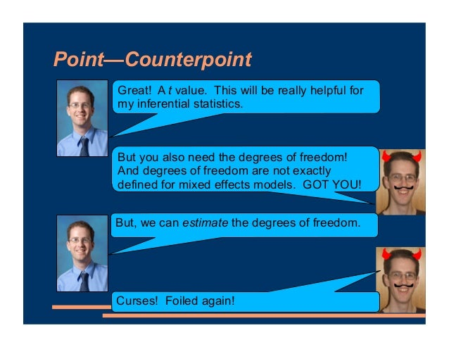 Point—Counterpoint Great! A t value. This will be really helpful for my inferential statistics. But you also need the degr...