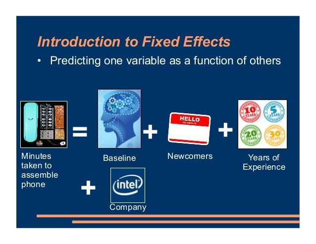Introduction to Fixed Effects = Minutes taken to assemble phone Newcomers + + Years of Experience + Company Baseline • Pre...