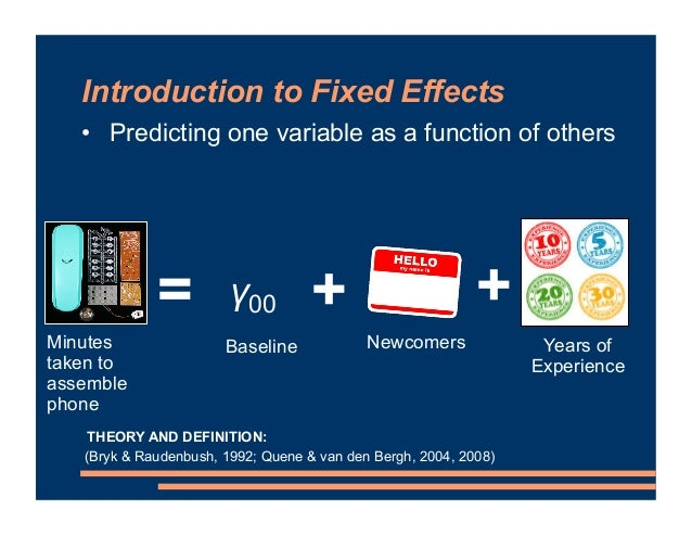 Introduction to Fixed Effects = Minutes taken to assemble phone Newcomers + + Years of Experience Baseline • Predicting on...