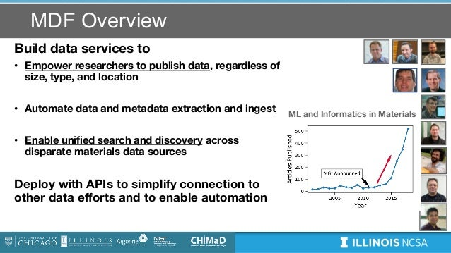 MDF Overview Build data services to • Empower researchers to publish data, regardless of size, type, and location • Automa...