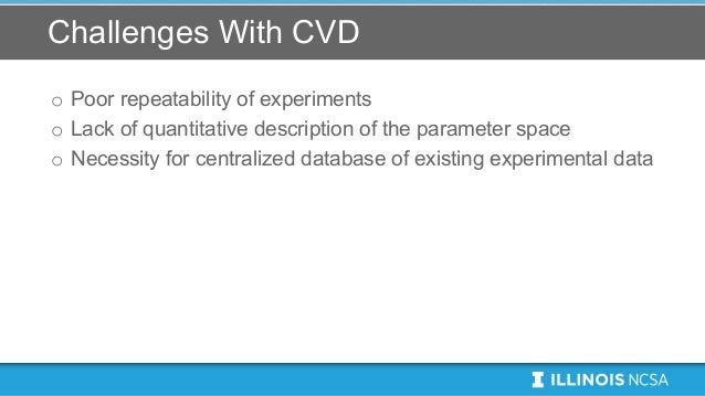 Challenges With CVD o Poor repeatability of experiments o Lack of quantitative description of the parameter space o Necess...