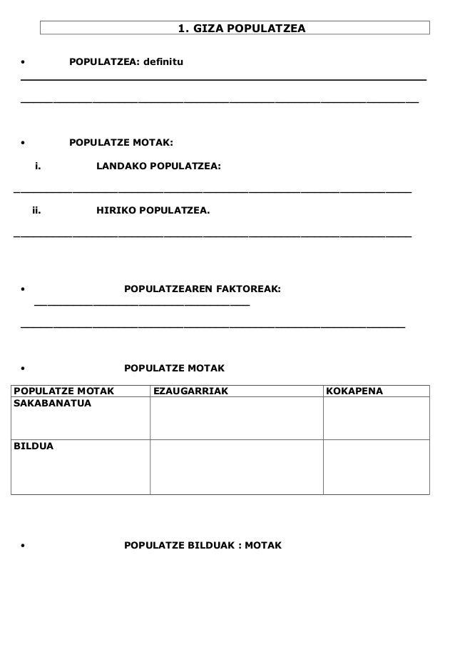 1. GIZA POPULATZEA • POPULATZEA: definitu _____________________________________________________________ • POPULATZE MOTAK:...