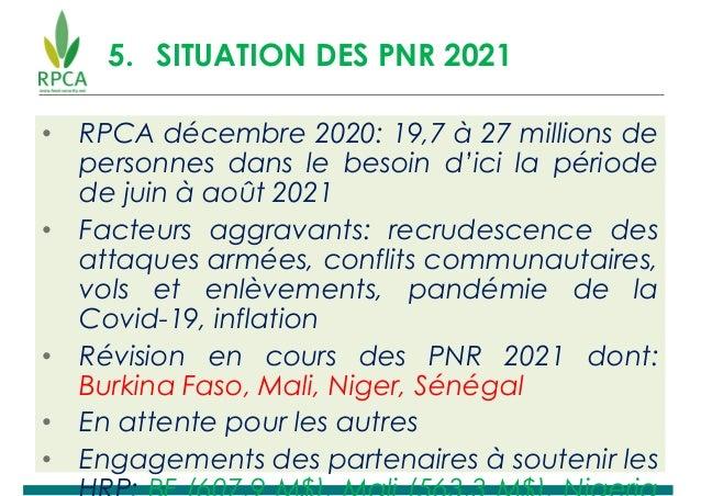 5. SITUATION DES PNR 2021 • RPCA décembre 2020: 19,7 à 27 millions de personnes dans le besoin d'ici la période de juin à ...