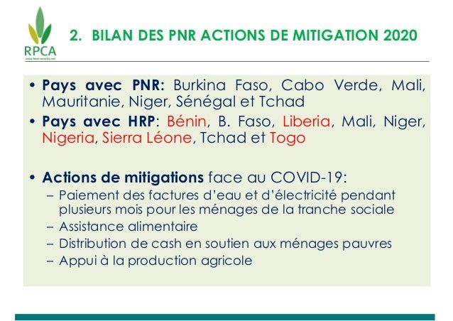 2. BILAN DES PNR ACTIONS DE MITIGATION 2020 • Pays avec PNR: Burkina Faso, Cabo Verde, Mali, Mauritanie, Niger, Sénégal et...
