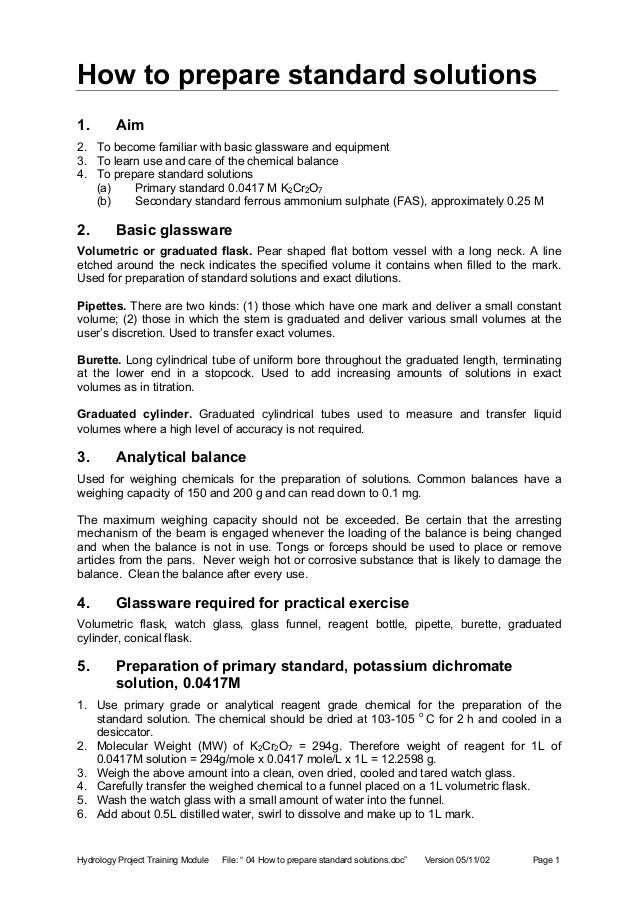 preparation and standardization of potassium Preparation of standard solutions  potassium hydroxide koh 56 56  certain primary standard solutions are also required for standardization of the above.