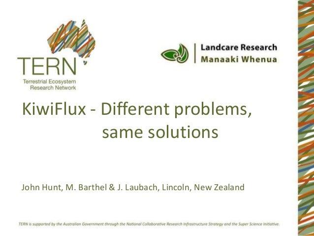 KiwiFlux - Different problems,           same solutionsJohn Hunt, M. Barthel & J. Laubach, Lincoln, New Zealand