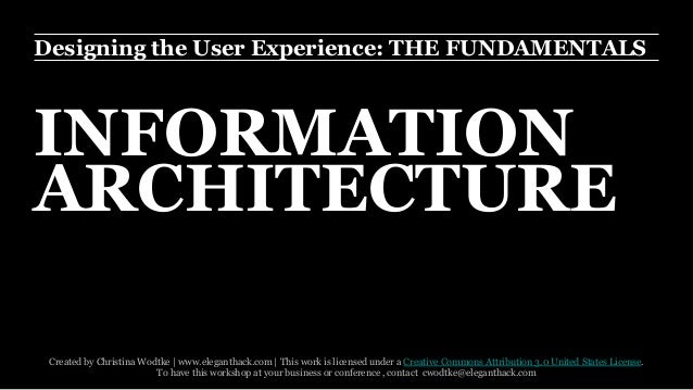 Designing the User Experience: THE FUNDAMENTALS  INFORMATION  ARCHITECTURE  Created by Christina Wodtke | www.eleganthack....