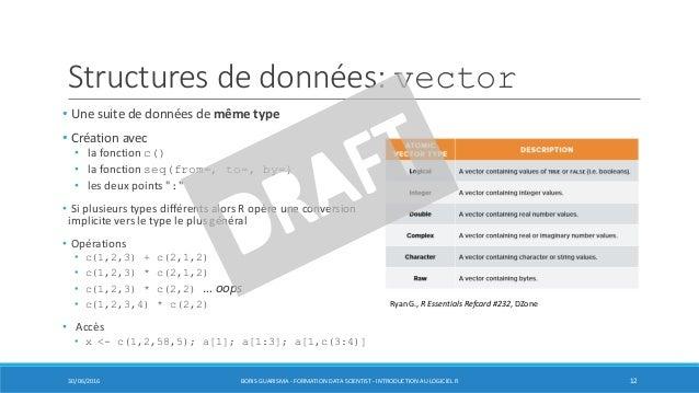 Structures de données: vector • Une suite de données de même type • Création avec • la fonction c() • la fonction seq(from...