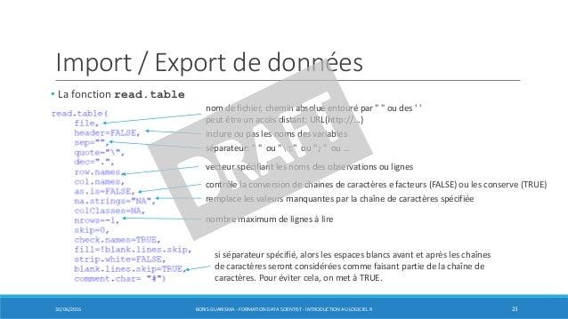 Import / Export de données • La fonction read.table 30/06/2016 BORIS GUARISMA - FORMATION DATA SCIENTIST - INTRODUCTION AU...