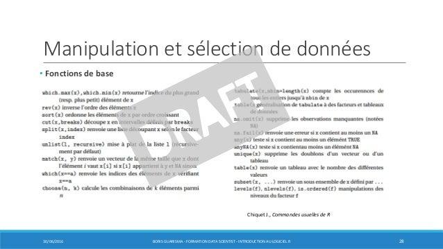 Manipulation et sélection de données • Fonctions de base 30/06/2016 BORIS GUARISMA - FORMATION DATA SCIENTIST - INTRODUCTI...