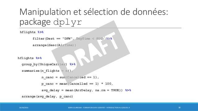 """Manipulation et sélection de données: package dplyr hflights %>% filter(Dest == """"DFW"""", DepTime < 800) %>% arrange(desc(Air..."""