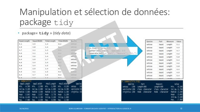 Manipulation et sélection de données: package tidy 30/06/2016 BORIS GUARISMA - FORMATION DATA SCIENTIST - INTRODUCTION AU ...