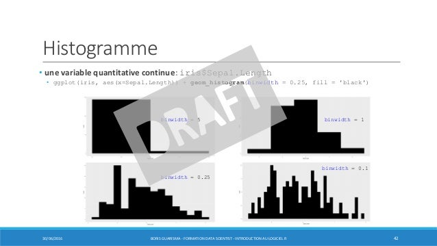 Histogramme • une variable quantitative continue: iris$Sepal.Length • ggplot(iris, aes(x=Sepal.Length)) + geom_histogram(b...