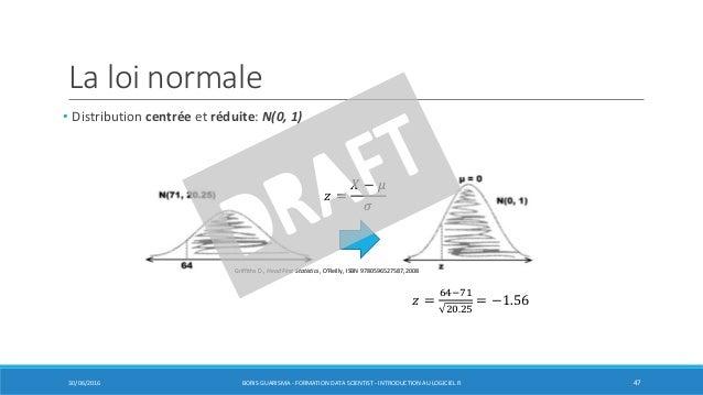 La loi normale • Distribution centrée et réduite: N(0, 1) 30/06/2016 BORIS GUARISMA - FORMATION DATA SCIENTIST - INTRODUCT...