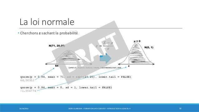 La loi normale • Cherchons z sachant la probabilité 30/06/2016 BORIS GUARISMA - FORMATION DATA SCIENTIST - INTRODUCTION AU...