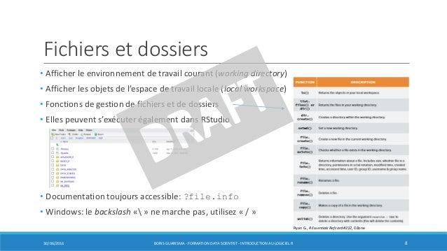 Fichiers et dossiers • Afficher le environnement de travail courant (working directory) • Afficher les objets de l'espace ...