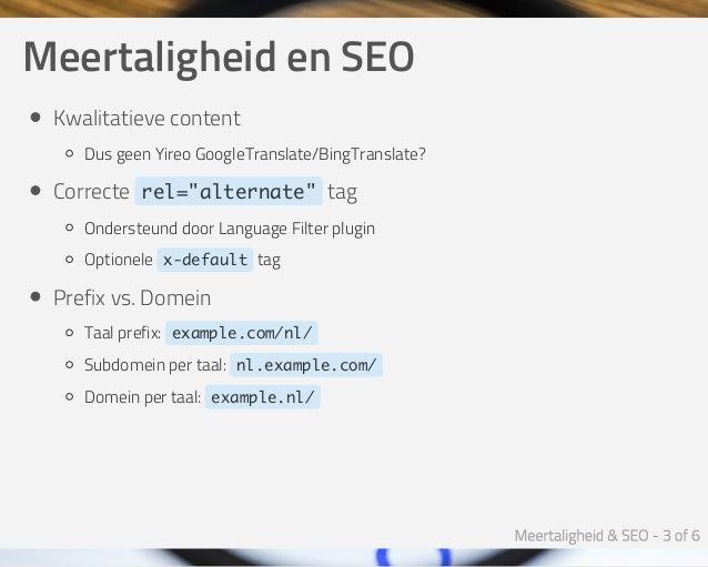 Meertaligheid & SEO - Joomla SEO Expert Sessie Slide 3
