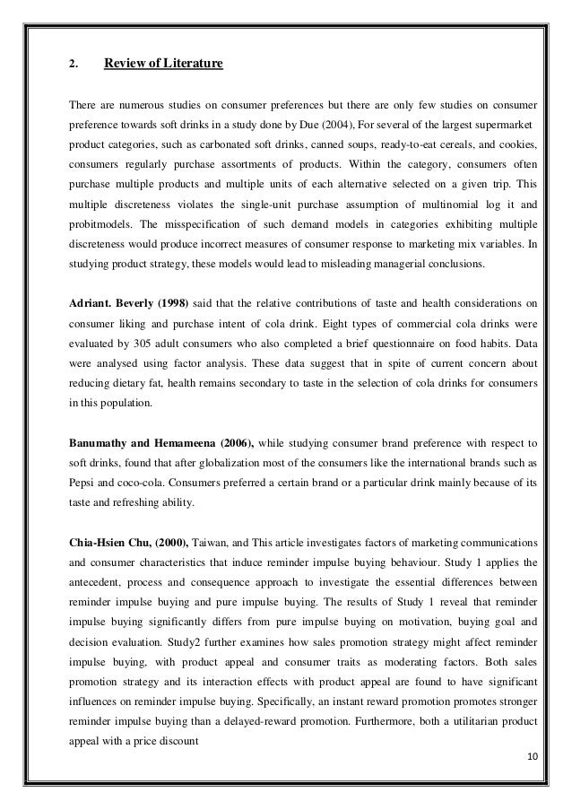 literature review of coca cola and pepsi