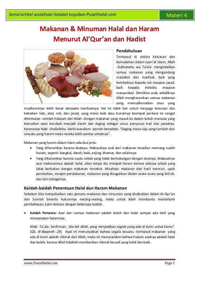 Makanan Minuman Halal Dan Haram Menurut Al Qur An Hadist