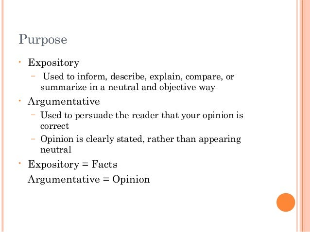 english expository vs argumentative argumentative 2 purpose • expository
