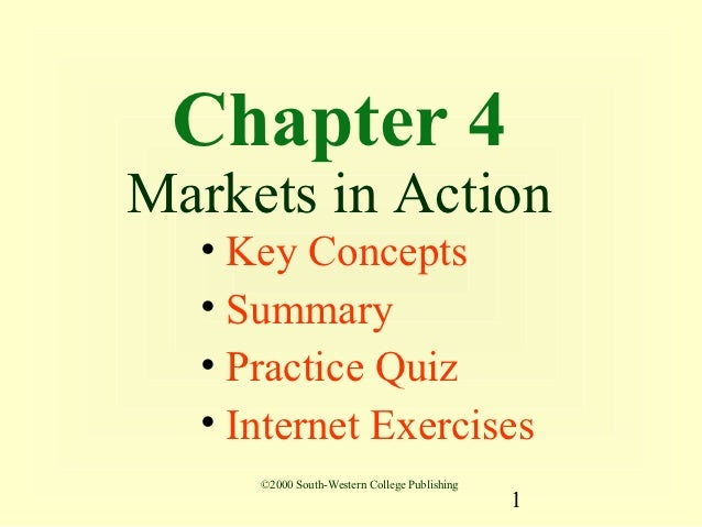 Chapter 4Markets in Action  • Key Concepts  • Summary  • Practice Quiz  • Internet Exercises     ©2000 South-Western Colle...