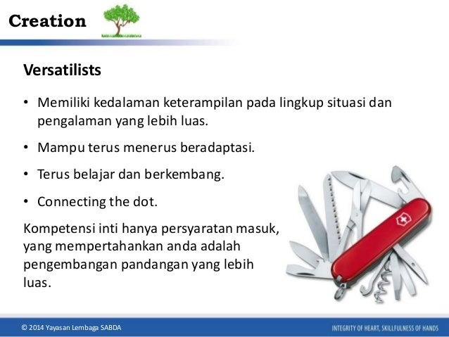 Creation  Versatilists  • Memiliki kedalaman keterampilan pada lingkup situasi dan  pengalaman yang lebih luas.  • Mampu t...