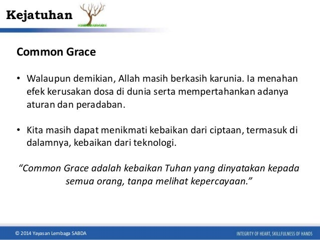 Kejatuhan  Common Grace  • Walaupun demikian, Allah masih berkasih karunia. Ia menahan  efek kerusakan dosa di dunia serta...