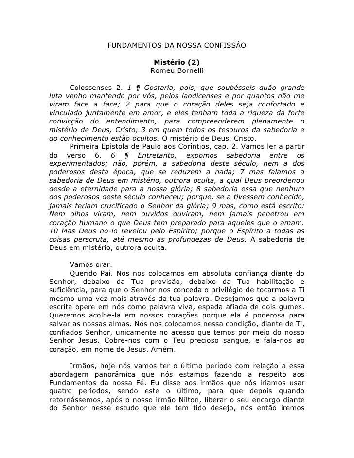 FUNDAMENTOS DA NOSSA CONFISSÃO                              Mistério (2)                             Romeu Bornelli      C...