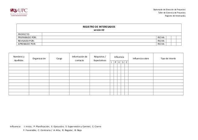 Registro de interesados for Ejemplo proyecto completo pmbok