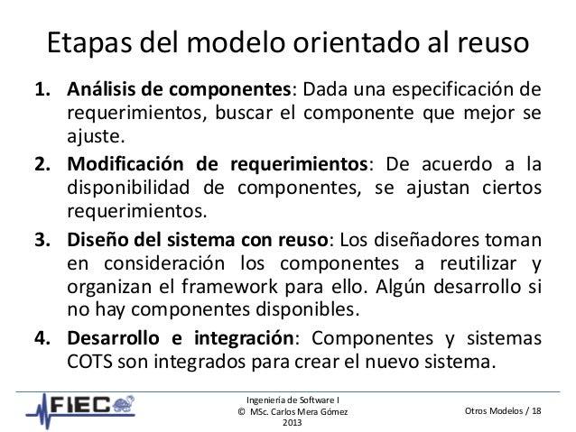 Otros Modelos / 18 Ingeniería de Software I © MSc. Carlos Mera Gómez 2013 Etapas del modelo orientado al reuso 1. Análisis...