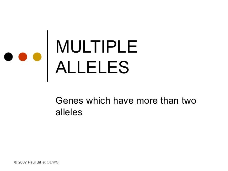 MULTIPLE ALLELES   Genes which have more than two alleles © 2007 Paul Billiet  ODWS