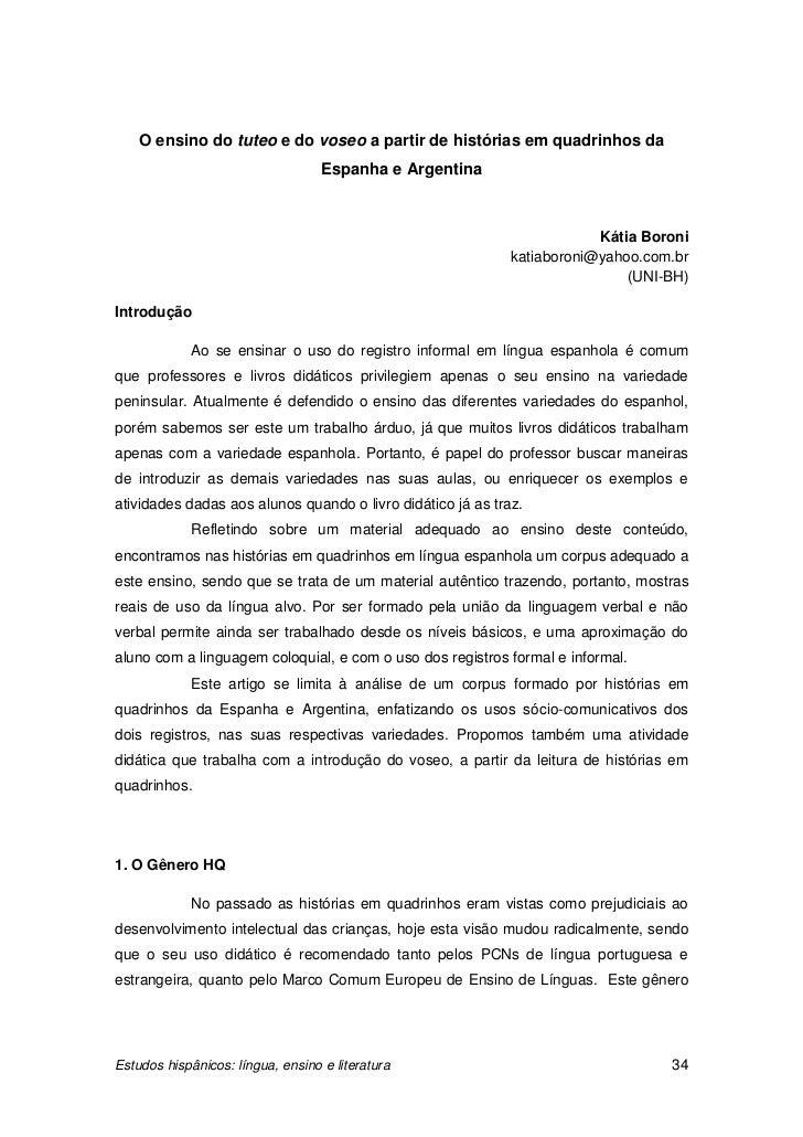 O ensino do tuteo e do voseo a partir de histórias em quadrinhos da                                   Espanha e Argentina ...