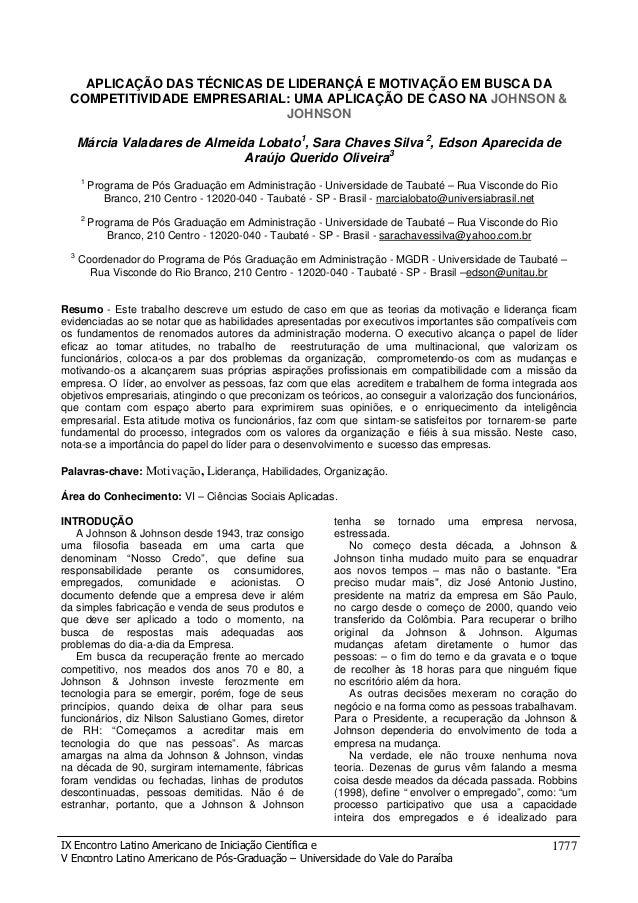 APLICAÇÃO DAS TÉCNICAS DE LIDERANÇÁ E MOTIVAÇÃO EM BUSCA DA COMPETITIVIDADE EMPRESARIAL: UMA APLICAÇÃO DE CASO NA JOHNSON ...