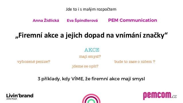 """Jdetoismalýmrozpočtem   Anna Židlická Eva Špindlerová PEM Communication      """"Firemníakceajejichdopadna..."""