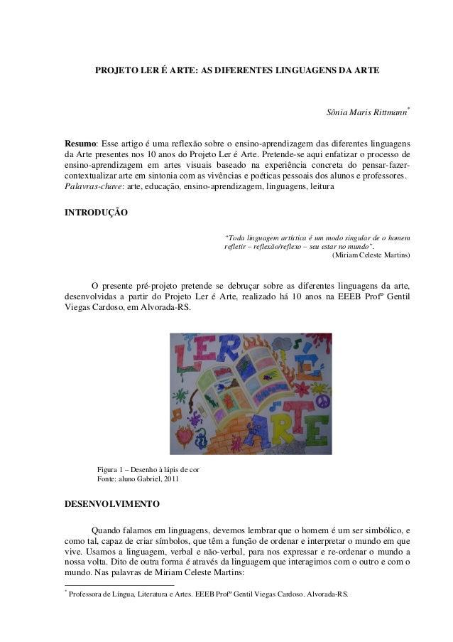 PROJETO LER É ARTE: AS DIFERENTES LINGUAGENS DA ARTE                                                                      ...
