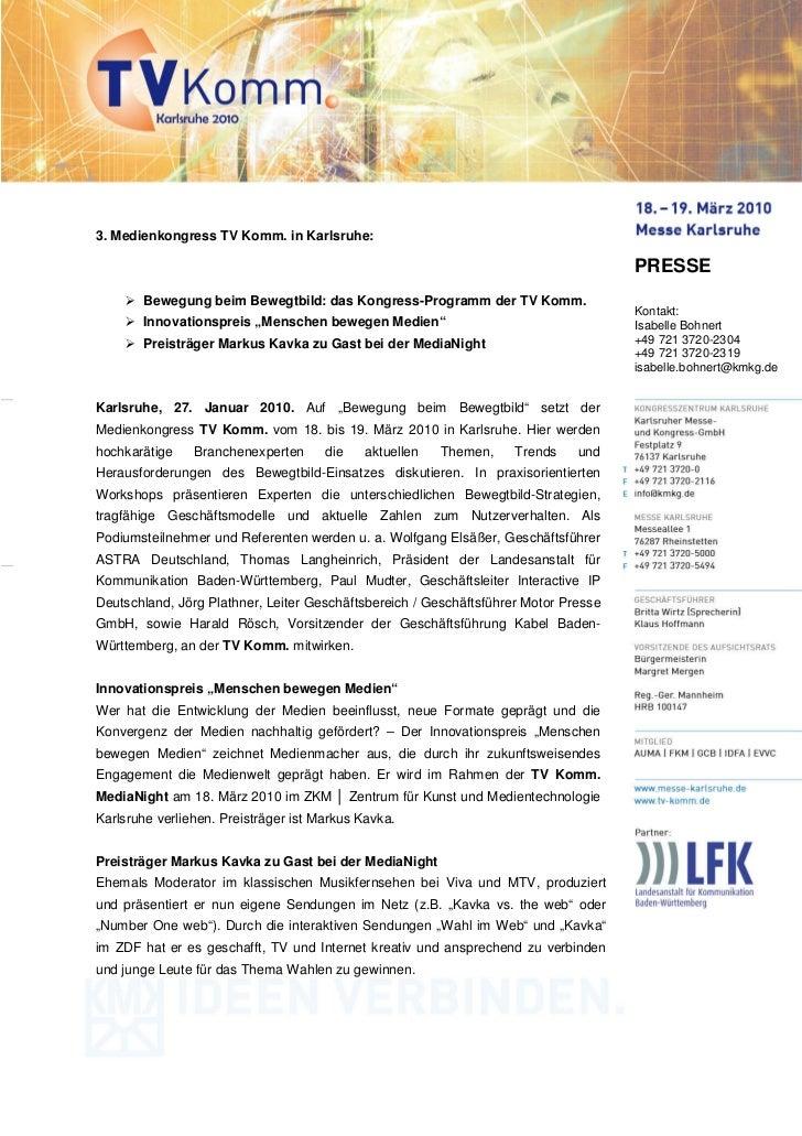 3. Medienkongress TV Komm. in Karlsruhe:                                                                                  ...