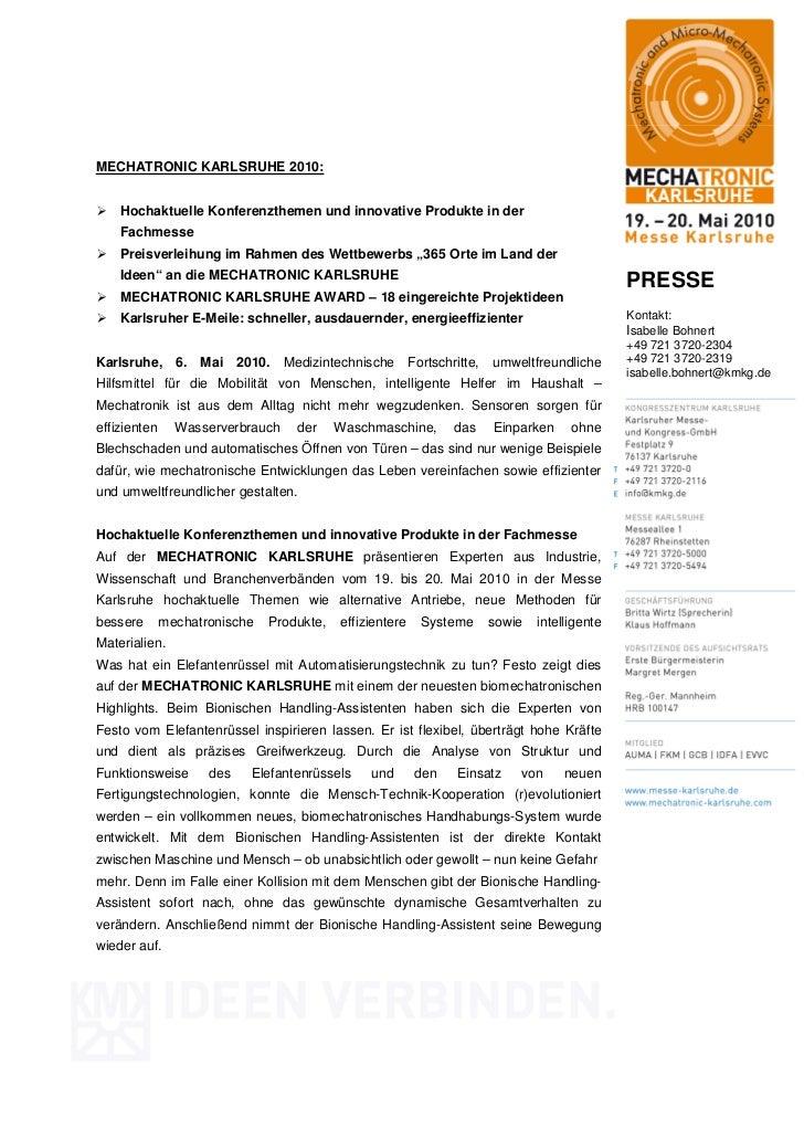 MECHATRONIC KARLSRUHE 2010:    Hochaktuelle Konferenzthemen und innovative Produkte in der    Fachmesse    Preisverleihung...