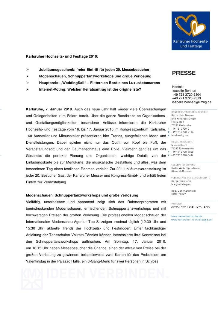 Karlsruher Hochzeits- und Festtage 2010:        Jubiläumsgeschenk: freier Eintritt für jeden 20. Messebesucher        Mode...