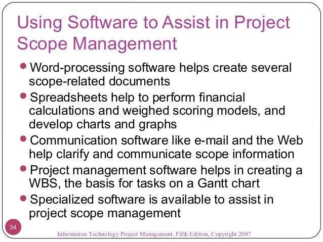 project scope management is important aspect information technology essay Know more about project scope management to define the project scope, it is important to the limitations of the project need to be clarified and the aspects.