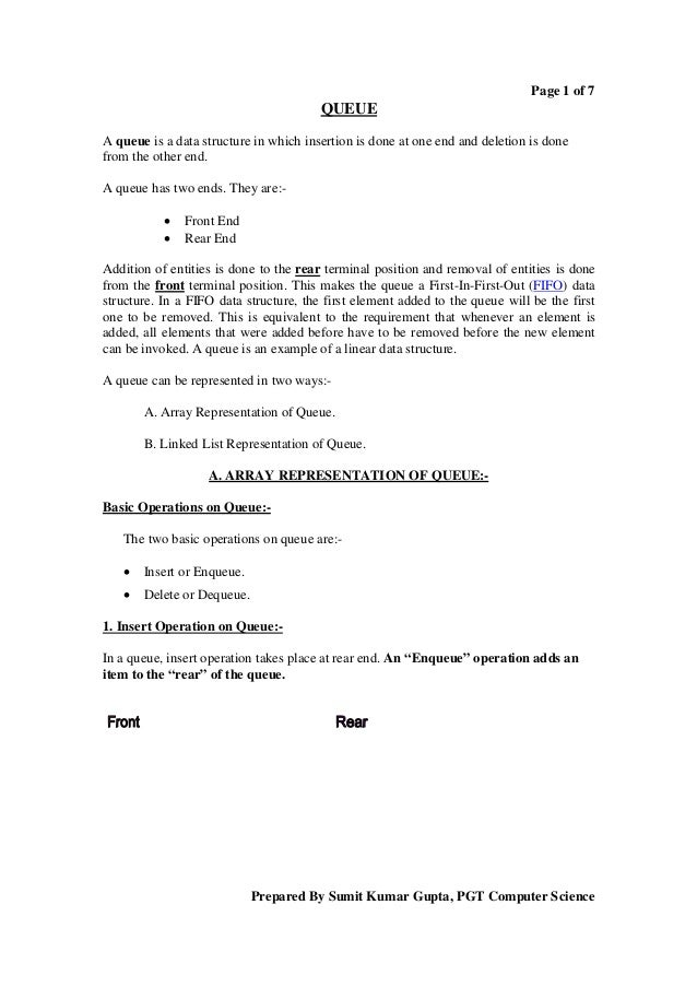 Page 1 of 7                                        QUEUEA queue is a data structure in which insertion is done at one end ...