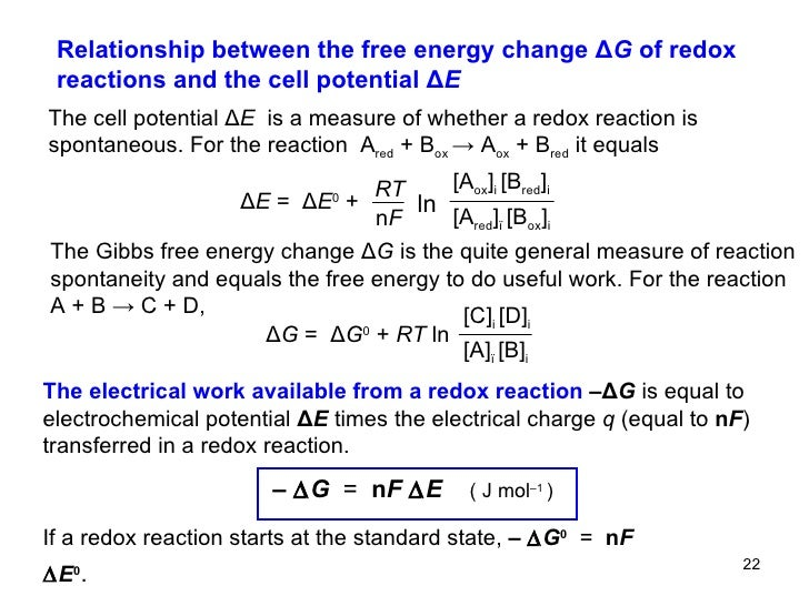 free energy change in redox reaction