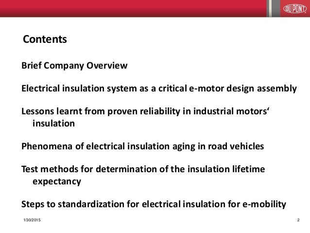DuPont on the evolution of electrical insulation systems Slide 2