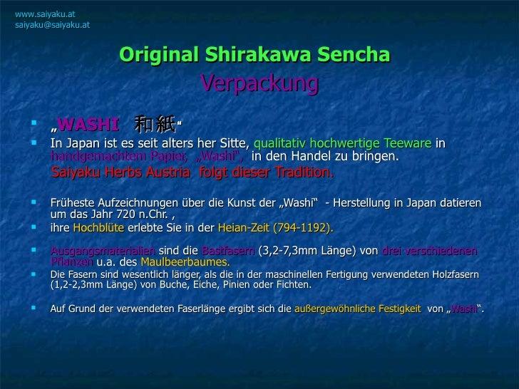 """Original Shirakawa Sencha   Verpackung <ul><li>"""" WASHI   和紙 """" </li></ul><ul><li>In Japan ist es seit alters her Sitte,  qu..."""